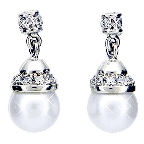 Λευκόχρυσα σκουλαρίκια Κ14 με μαργαριτάρι