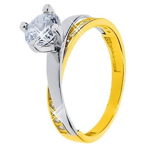 Χρυσό μονόπετρο δαχτυλίδι Κ14