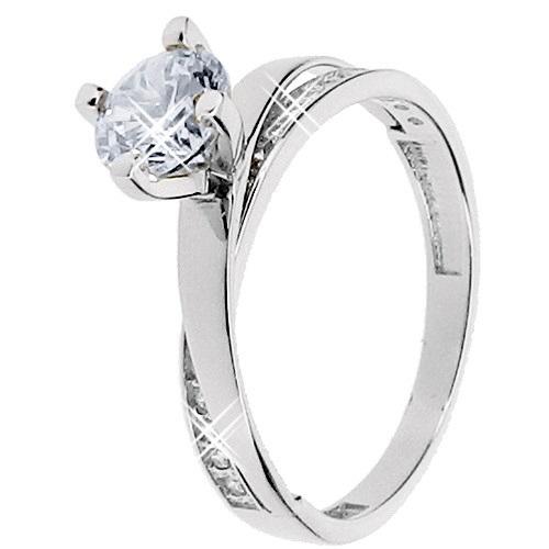 Λευκόχρυσο δαχτυλίδι μονόπετρο Κ14