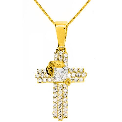 Χρυσός βαπτιστικός σταυρός Κ14 με αλυσίδα