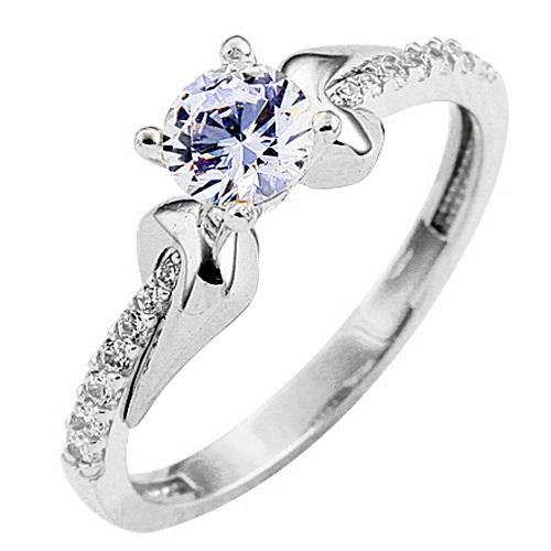 Λευκόχρυσο δαχτυλίδι μονόπετρο Κ9