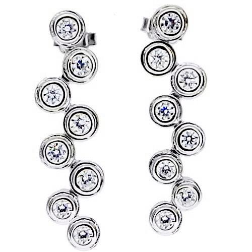Λευκόχρυσα σκουλαρίκια Κ14 με ζιργκόν