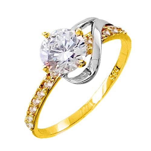 Χρυσό δαχτυλίδι μονόπετρο Κ14 με ζιργκόν