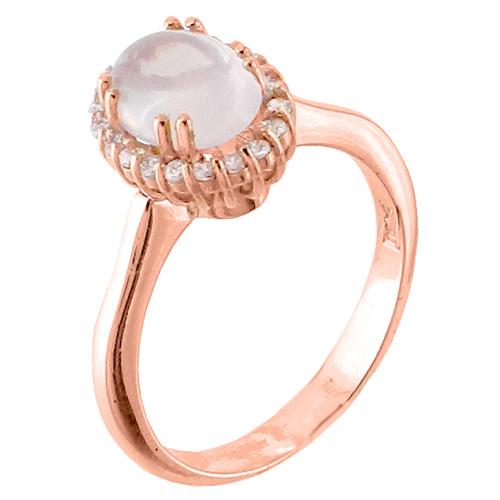 Δαχτυλίδι από ροζ χρυσό Κ14 με ζιργκόν και ορυκτό χαλαζία