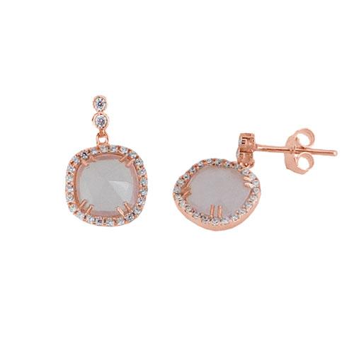 Σκουλαρίκια από ροζ χρυσό Κ14 με ορυκτό χαλαζία και ζιργκόν