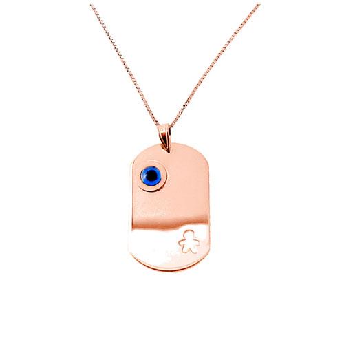 Παιδικό μενταγιόν-ταυτότητα από ροζ χρυσό Κ9 με αλυσίδα